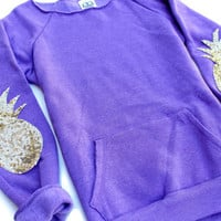 Purple Sequin Pineapple Elbow Patch Sweatshirt Jumper