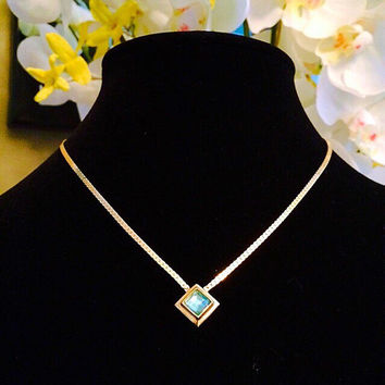 Vintage Avon Necklace, Signed Avon  Topaz Blue Diamond Shaped Dazzle Dot