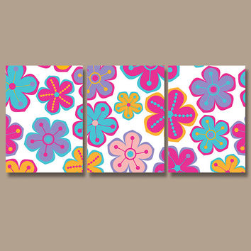 Girl Flower Wall Art Canvas Artwork Child Pottery Design Colorful Choose Colors Set of 3 Prints Nursery Decor Bedroom Bedding Bathroom Three