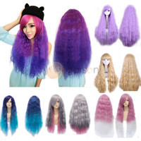 New Lolita Fashion Long Curly Wavy Full Wigs Cosplay Costume Hair Two Tone Wig