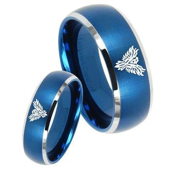 His Her Satin Blue Dome Phoenix Two Tone Tungsten Wedding Rings Set
