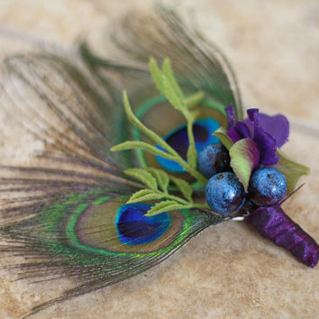 Peacock Feather Wedding Men's Boutonniere