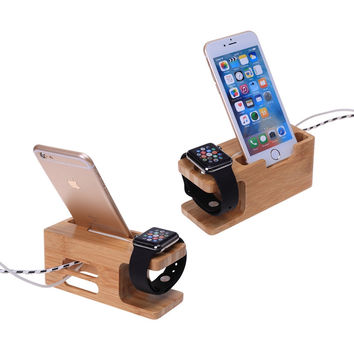 For Apple Watch 38&42mm For Huawei Watches Wood Bamboo Station Charging Dock Cradle Stand Holder For iPhone 6S 7 PLUS S5 Neo S7