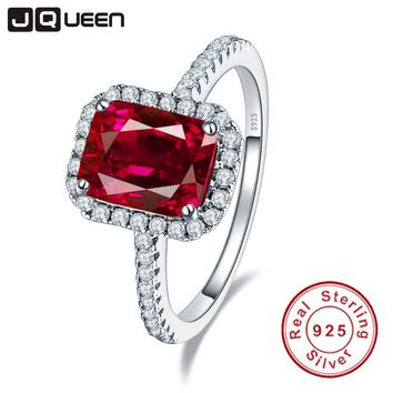 Hot Sale 3.6ct Pigeon Blood Red Ruby Engagement Wedding Ring Pure Solid 925 Sterling Silver Square Cut Fine Jewelry with box