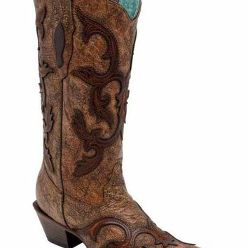 LMFYW3 Corral Brown Patch Overlay Boots C2902