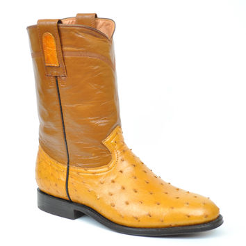 Gavel Handcrafted Women's Buttercup Full Quill Ostrich Roper Round Toe Boots