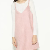 Pink Spaghetti Solid Beaded Faux Suede Overall Dress