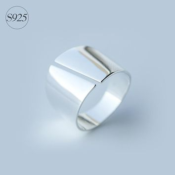 Lady's Real. 925 Sterling Silver jEWELRY High Polished Rocker Ring Band Wider 15mm jewelry Long Ring Comfortable GTLJ811