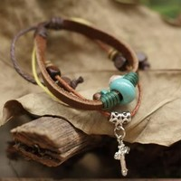 Bracelet genuine leather women's cowhide knitted unique handmade jewelry