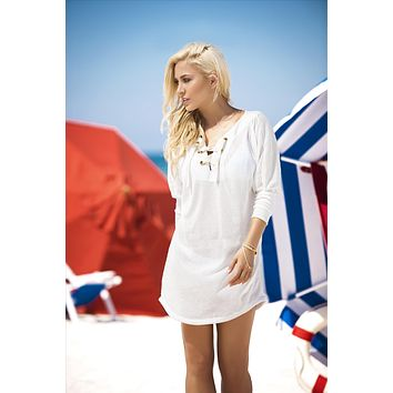Ivory See-Through Lace-Up Front Loose Fit Cover-up Beach Dress