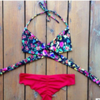 Fashion women triangle vintage floral bikini swimwear  = 1956605764