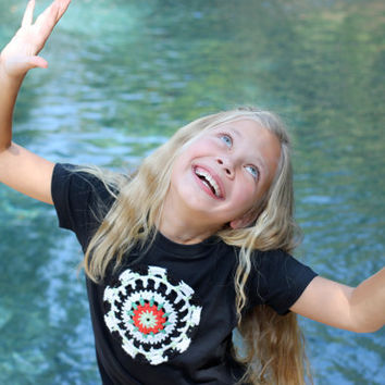 Tween Girls black T-shirt - with Crochet Flower in white black coral mint teal