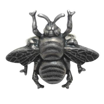 Silver Toned Large Bee Bug Insect Adjustable Size Fashion Ring