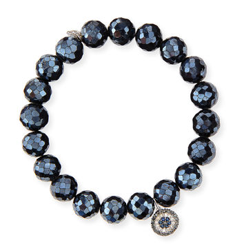 10mm Black Diamond Spinel Bead Bracelet with Disc Charm - Sydney Evan