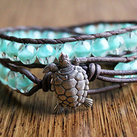 Sea Turtle Bracelet Leather Beaded Wrap by theredparachute on Etsy