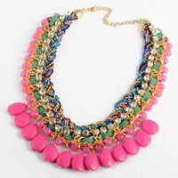 Fashion Colorized Knit Chain Crystal Rose Water Drop Beads Pendant Statement Necklace