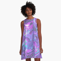 'Purple and Blue Swirl' A-Line Dress by phantastique