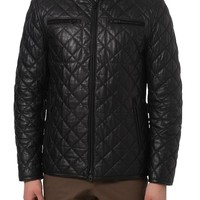 MEN'S QUILTED LEATHER JACKET, MEN BLACK LEATHER JACKET, MEN LEATHER JACKETS