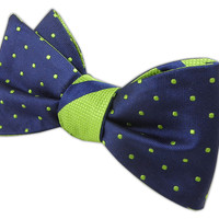 Hot Dots Stripe - Navy/Apple (Reversible Bow Ties) from TheTieBar.com - Wear Your Good Tie Everyday