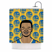 """Will Wild """"Steph Curry"""" Yellow Sports Shower Curtain"""
