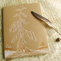 Dream Journal painted by hand - Guardian Angel Tree 7.5 x 10