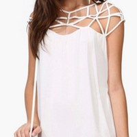 White Short Sleeve Cut Out Scoop Neck Double Layer Chiffon Mini Dress