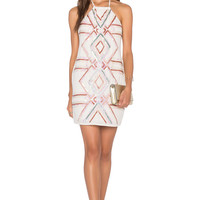 NBD x Naven Twins Hopeless Halter Dress in White Embellished
