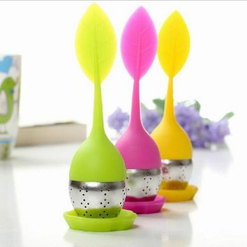 Kitchen Tool Creative Silicone Leaf Infuser Tea Leaf Strainer Herbal Spice Filter Diffuser Wedding Decoration Gifts