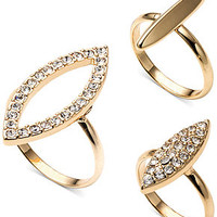 RACHEL Rachel Roy Gold-Tone Crystal Stack Trio Ring Set