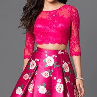 Short Two Piece Print Dress with Lace Top