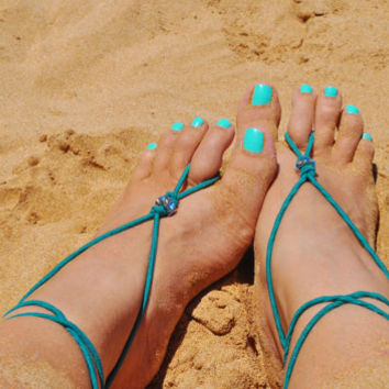 Barefoot Sandals in teal elastic with turquoise rhinestone bead