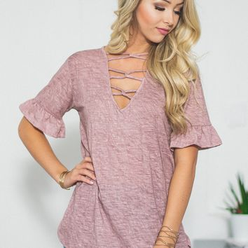 Heather Strappy Neck Flutter Sleeve Top
