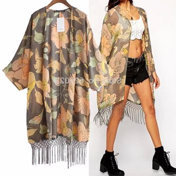 Women's Gray/Peach Chiffon Kimono Duster with Fringe Detail