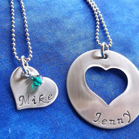 Couples Family Necklace set - hand stamped - mother grandmothers necklace - her his jewery - personalized necklaces