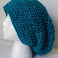 Crocheted Peacock Slouchy Beret/Hat  Adult Size