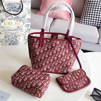 Dior Fashion Women Shopping Bag Handbag Shoulder Bag Purse Wallet Set Three Piece Red
