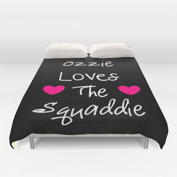 Duvet Cover, DOCTOR WHO Duvet, Ozzie Loves the Squaddie Duvet, Bedroom Decor, Dorm Decor, Queen Duvet , King Duvet, Pink Black White