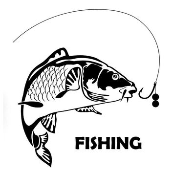 17.6cm*19cm Fish Fishing Fashion Car Styling Motorcycle Stickers Decals Vinyl S4-0086