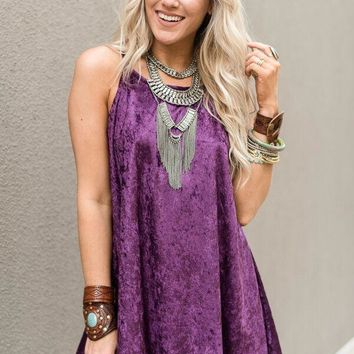 Heaven Sent Crushed Velvet Dress - Purple