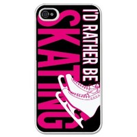 I'd Rather be Figure Skating iPhone Case (iPhone 4/4S) with Black Background