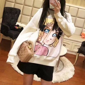 """Gucci"" Women Casual Fashion Cartoon Girl Print Sequin Embroidery Long Sleeve Sweater Tops"