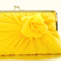 Dark Golden Yellow Rose Clutch With Chunky Frame by HeidiCreations
