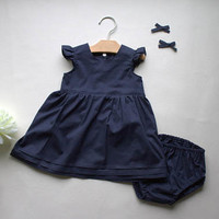 Infant Dress - Premium Baby Outfit - Cotton Baby Dress - Navy Baby Dress - Cotton Flutter Dress -Baby Shower Gift - Made 4U Handmade Designs