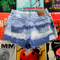 Vintage Denim Cut Offs - 80s High Waisted Bleached, Distressed, Acid Wash Jean Shorts by LEVIS Levi Strauss, Frayed, PLUS Size 16 OOAK