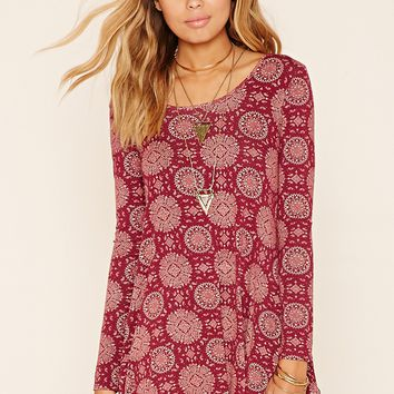 Medallion Print Flared Dress