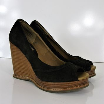 Steve Madden 'Cristan' Chocolate Brown Suede Stacked Wedge Peep Toe Pumps 8