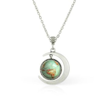 Moon pendant Moon necklace Vintage Globe necklace Vintage Globe pendant Planet Vintage Globe jewelry Earth World Map Art necklace gifts for her