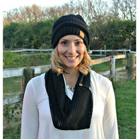 Open Knit Scarf Black