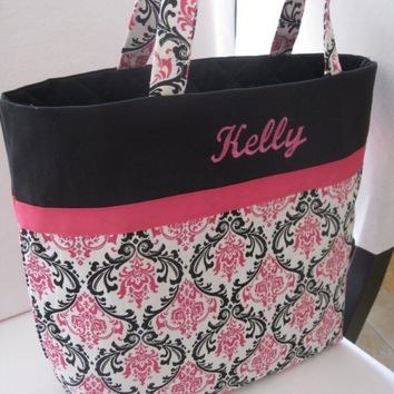 Personalized Embroidered or Monogrammed or Sorority Greek Letter Tote Bag - Pink and Black Damask