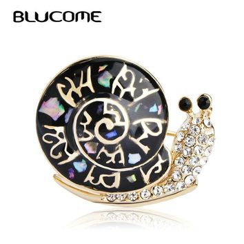 Blucome Fashion Abalone Shell Snails Brooch Christmas Gifts Black Insect Brooches Women Accessories Pins Stainless Steel Corsage